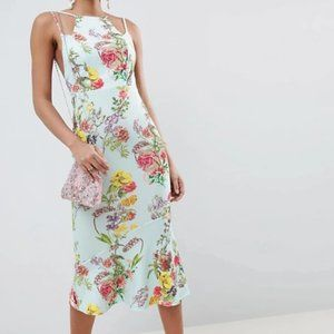 ASOS | NWT Blue Floral Bodycon Peplum Cami Dress